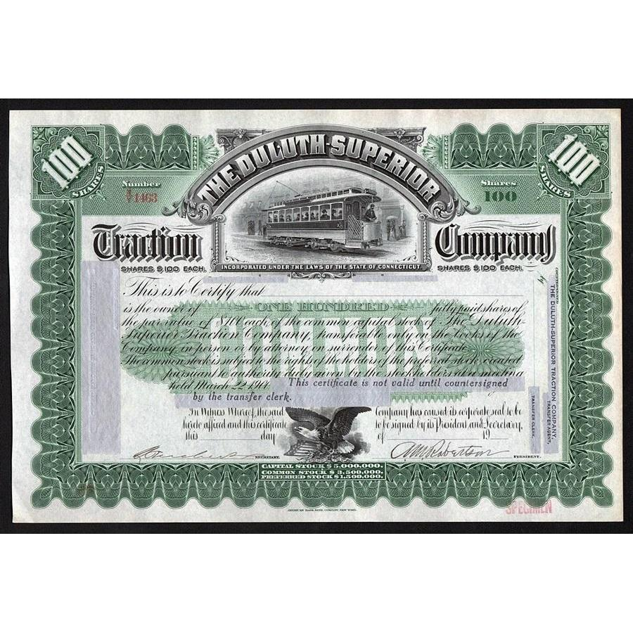 The Duluth Superior Traction Company Stock Certificate