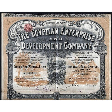 The Egyptian Enterprise and Development Company Stock Certificate