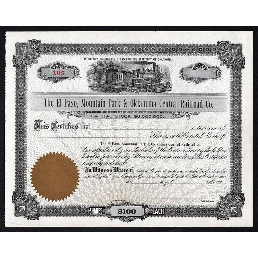 The El Paso, Mountain Park & Oklahoma Central Railroad Co. Stock Certificate