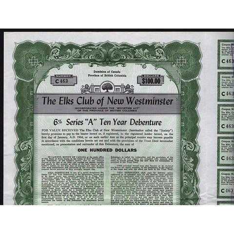 The Elks Club of New Westminster (British Columbia) Stock Certificate