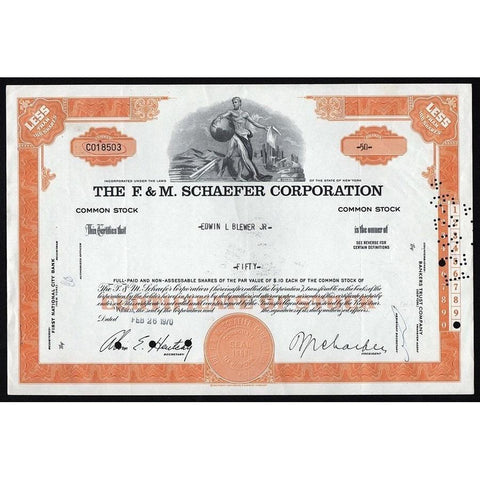 The F. & M. Schaefer Corporation Stock Certificate