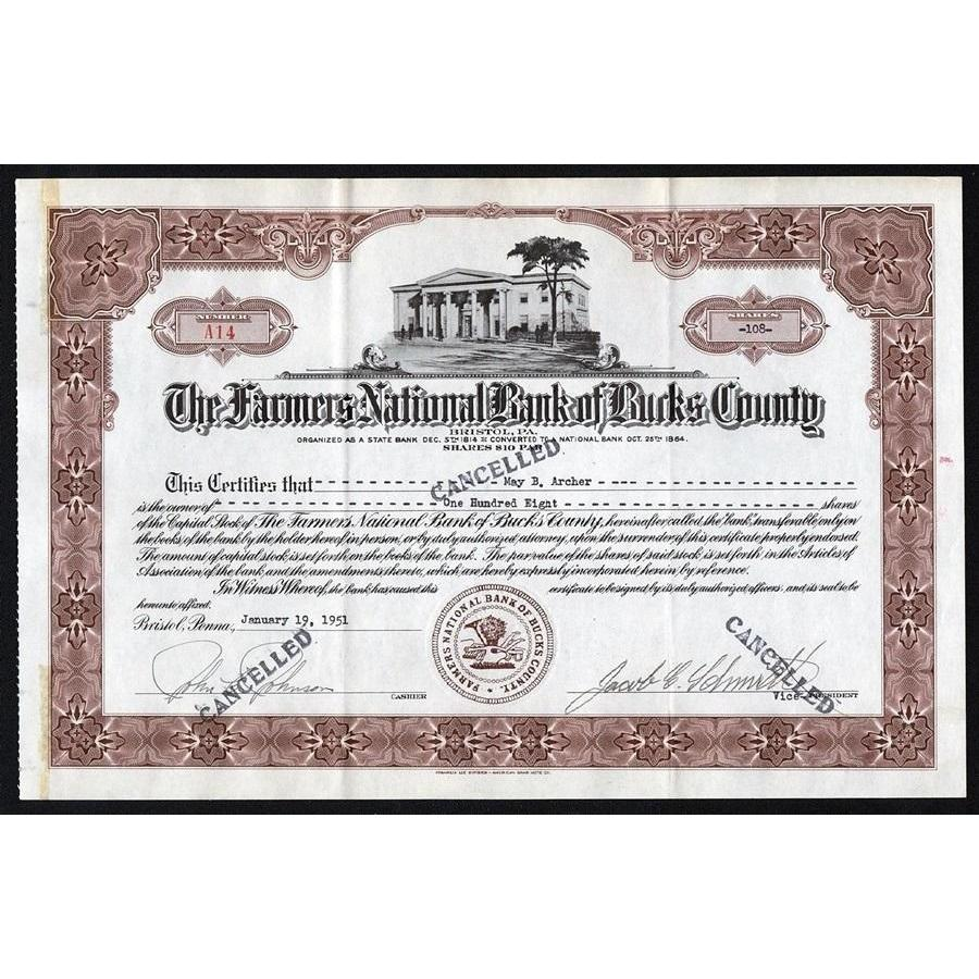 The Farmers National Bank of Bucks County (Bristol, PA) Stock Certificate