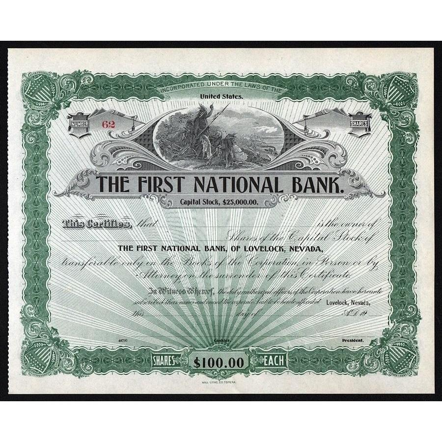 The First National Bank, of Lovelock, Nevada Stock Certificate