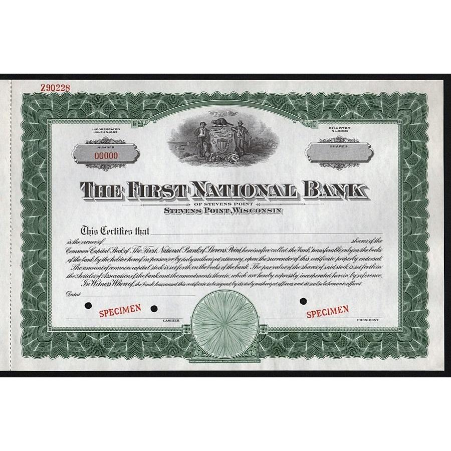 The First National Bank of Stevens Point (Wisconsin) - Specimen Stock Certificate