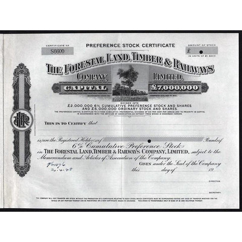 The Forestal Land, Timber & Railways Company Limited (Specimen) Stock Certificate