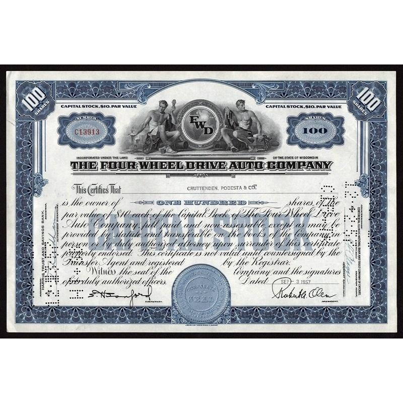 The Four Wheel Drive Auto Company Stock Certificate
