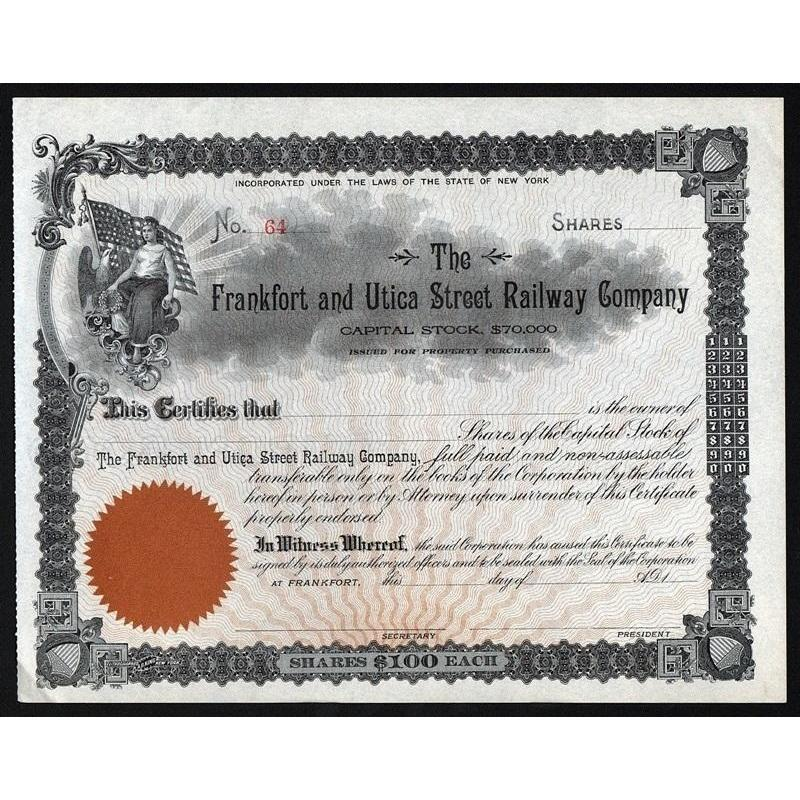 The Frankfort and Utica Street Railway Company Stock Certificate