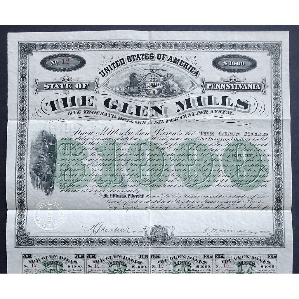 The Glen Mills Stock Certificate