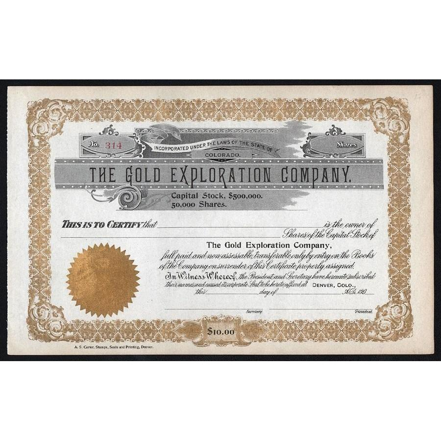 The Gold Exploration Company Stock Certificate