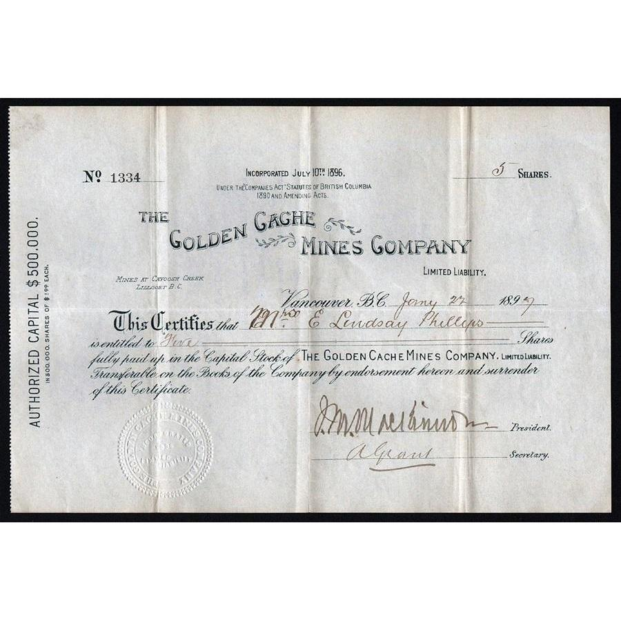 The Golden Cache Mines Company Stock Certificate