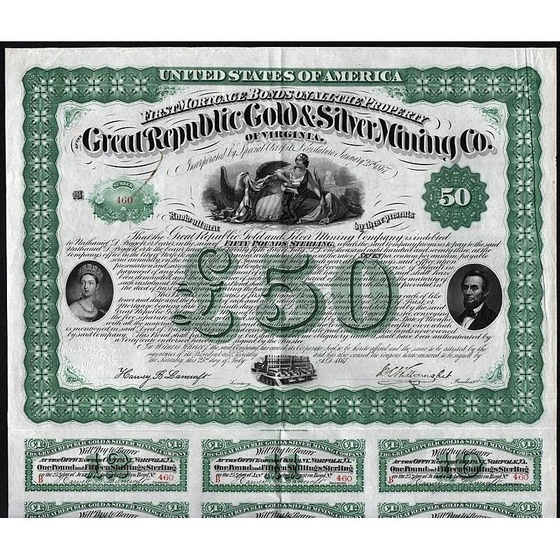 The Great Republic Gold & Silver Mining Co. of Virginia Stock Certificate