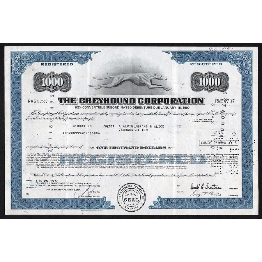 The Greyhound Corporation Stock Bond Certificate