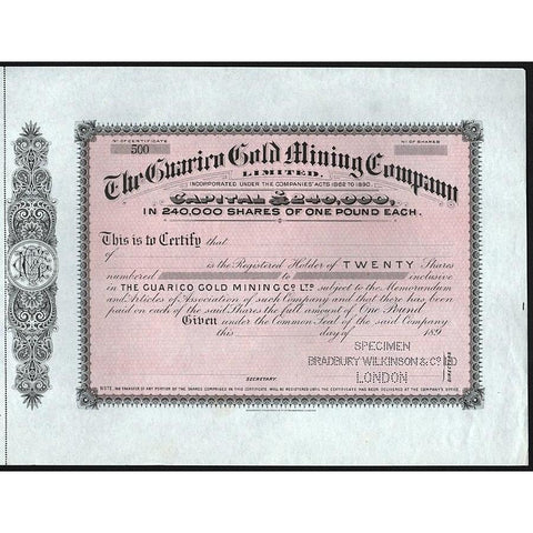 The Guarico Gold Mining Company Limited (Specimen) Stock Certificate