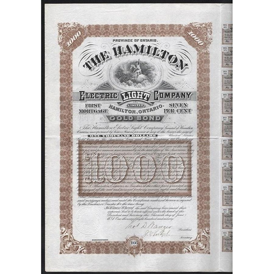 The Hamilton Electric Light Company Limited, Hamilton, Ontario Stock Certificate