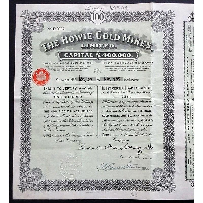 The Howie Gold Mines Limited 1936 Austrialia Stock Certificate
