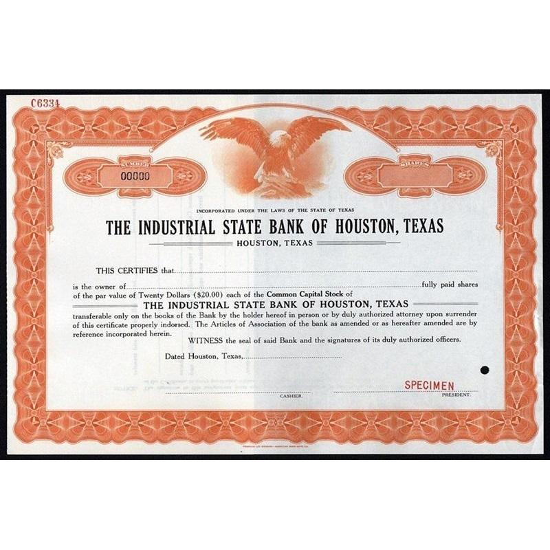 The Industrial State Bank of Houston, Texas (Specimen) Stock Certificate