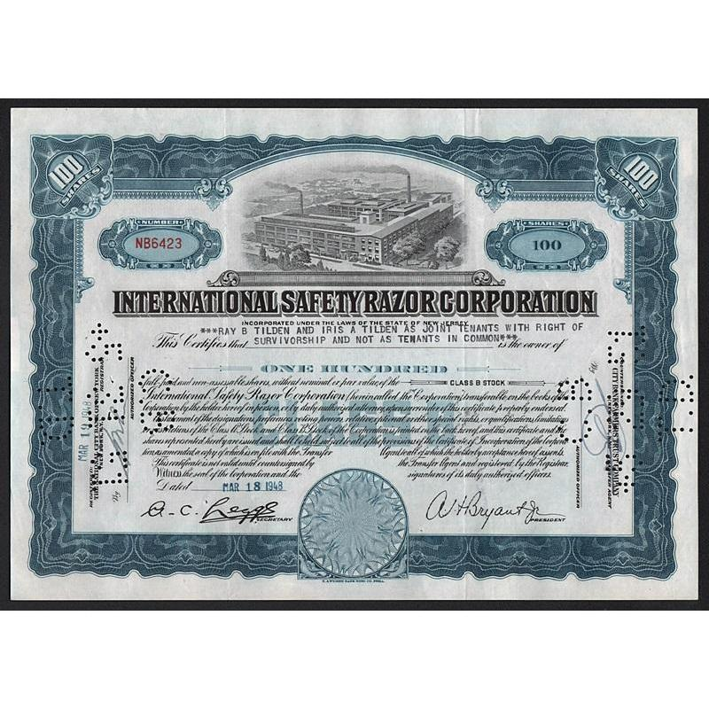 The International Safety Razor Corporation Stock Certificate