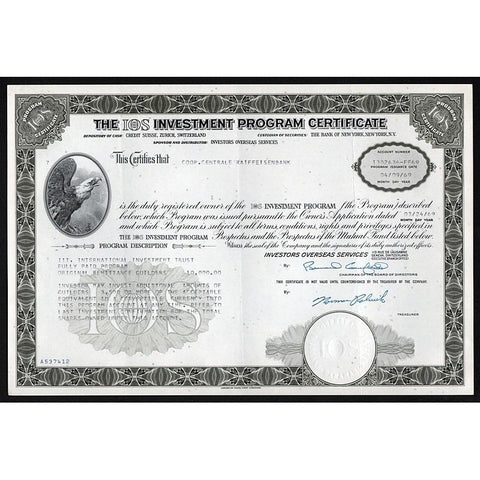 The IOS Investment Program Certificate (Investors Overseas Services) Stock Certificate
