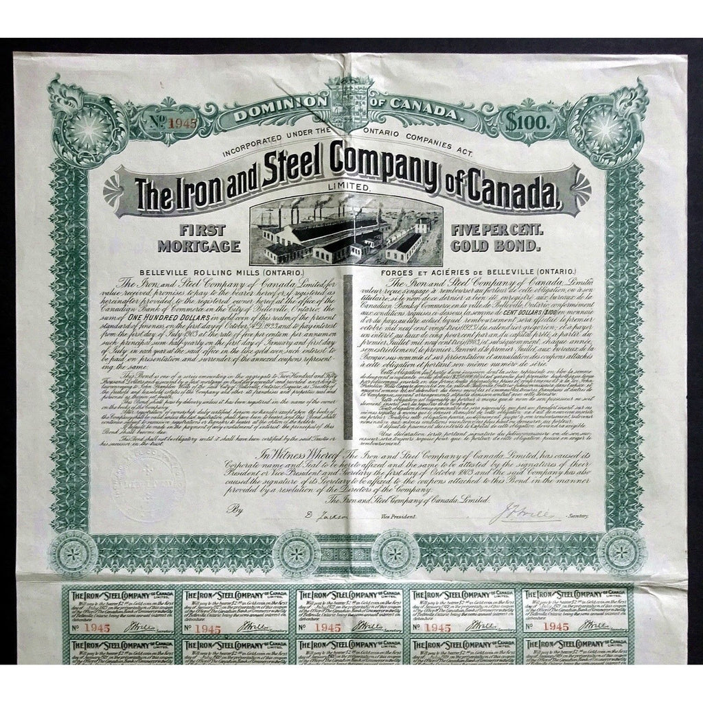 The Iron and Steel Company of Canada Limited Stock Certificate