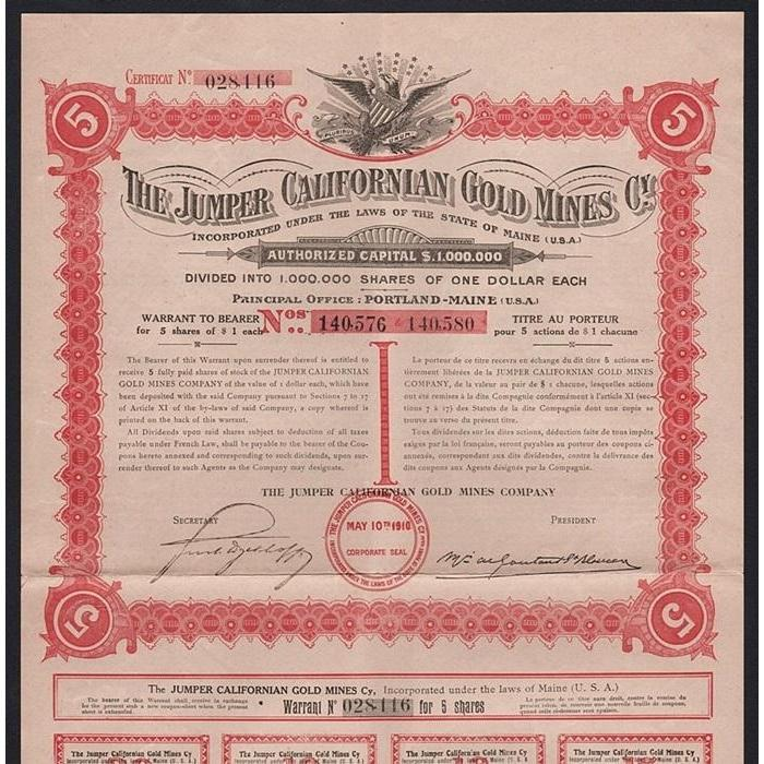 The Jumper Californian Gold Mines Cy. Stock Certificate