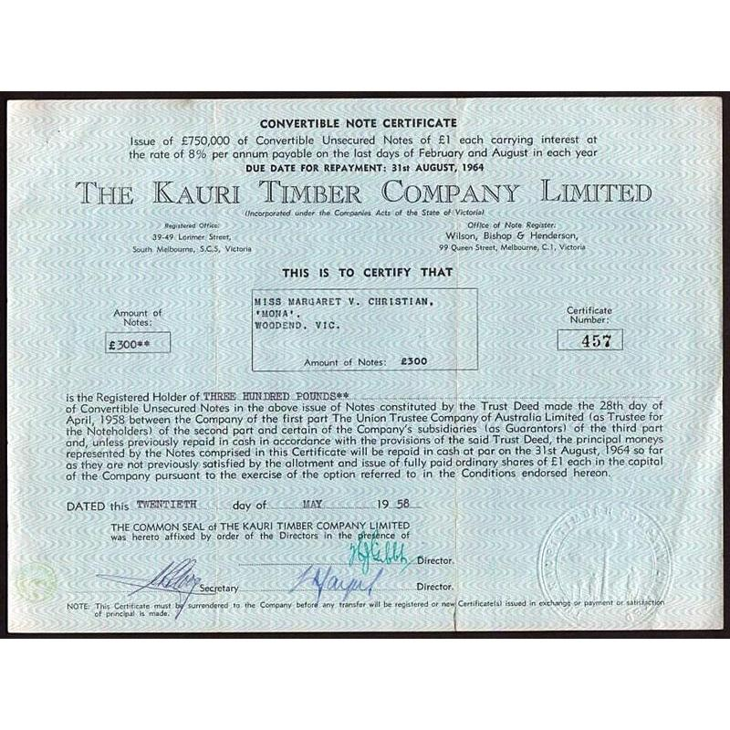 The Kauri Timber Company Limited Stock Certificate
