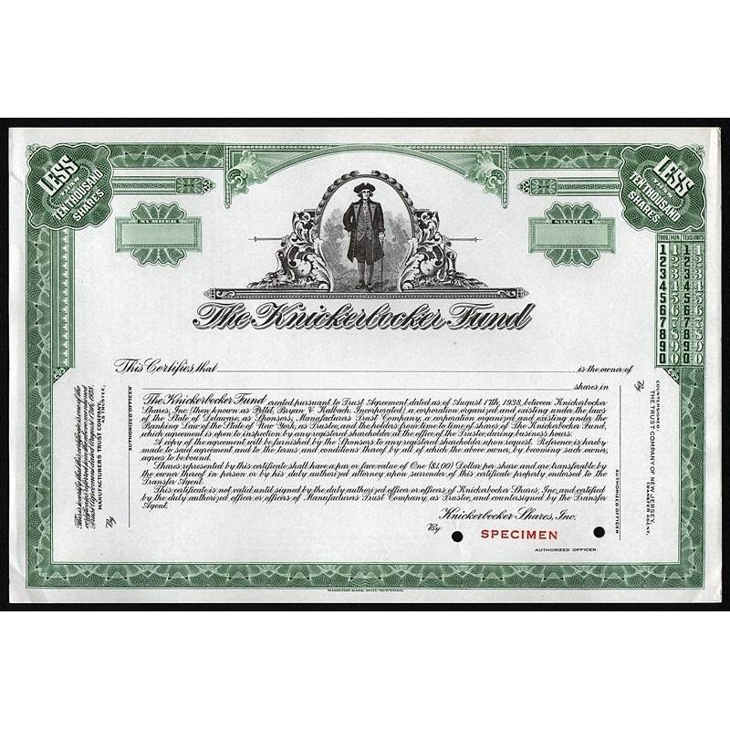 The Knickerbocker Fund (Specimen) Stock Certificate