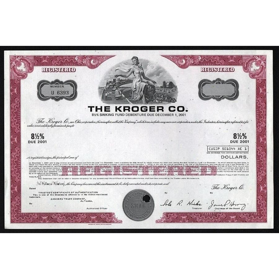 The Kroger Co. (Supermarkets) Stock Certificate