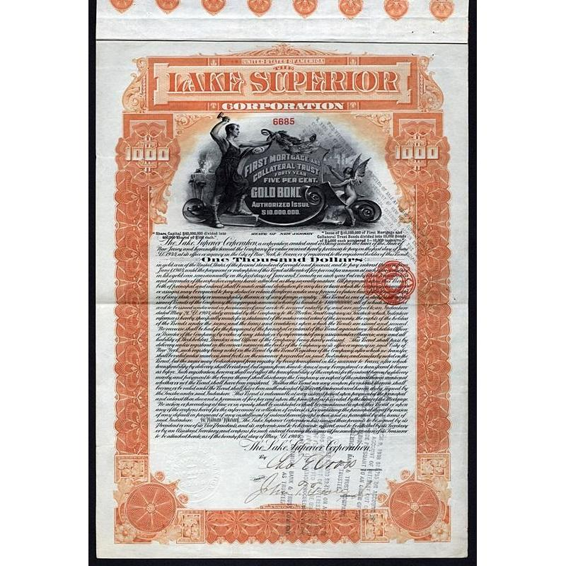 The Lake Superior Corporation (Gold Bond) Stock Certificate