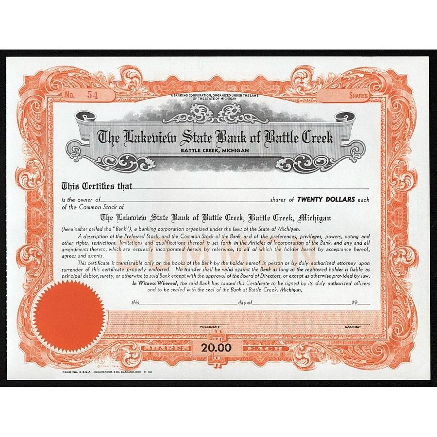 The Lakeview State Bank of Battle Creek (Battle Creek, Michigan) Stock Certificate