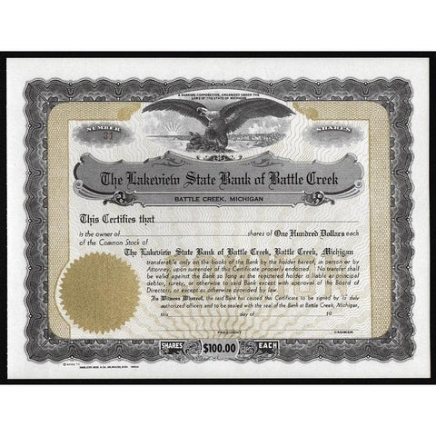 The Lakeview State Bank of Battle Creek Stock Certificate