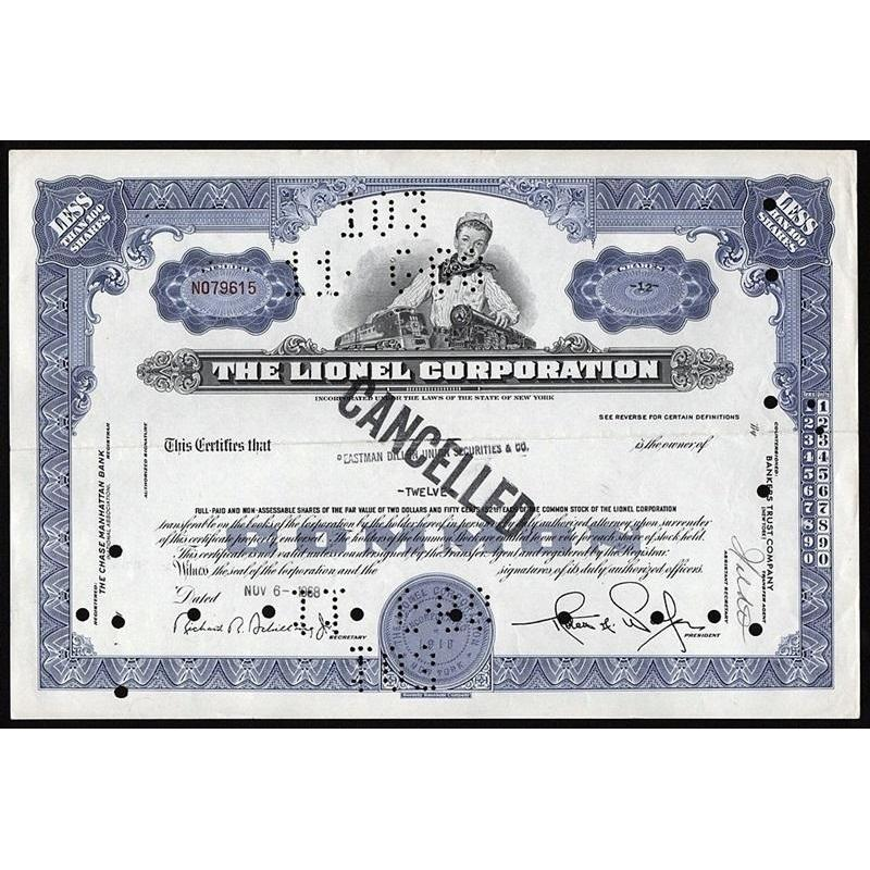 The Lionel Corporation (Model Trains) Stock Certificate