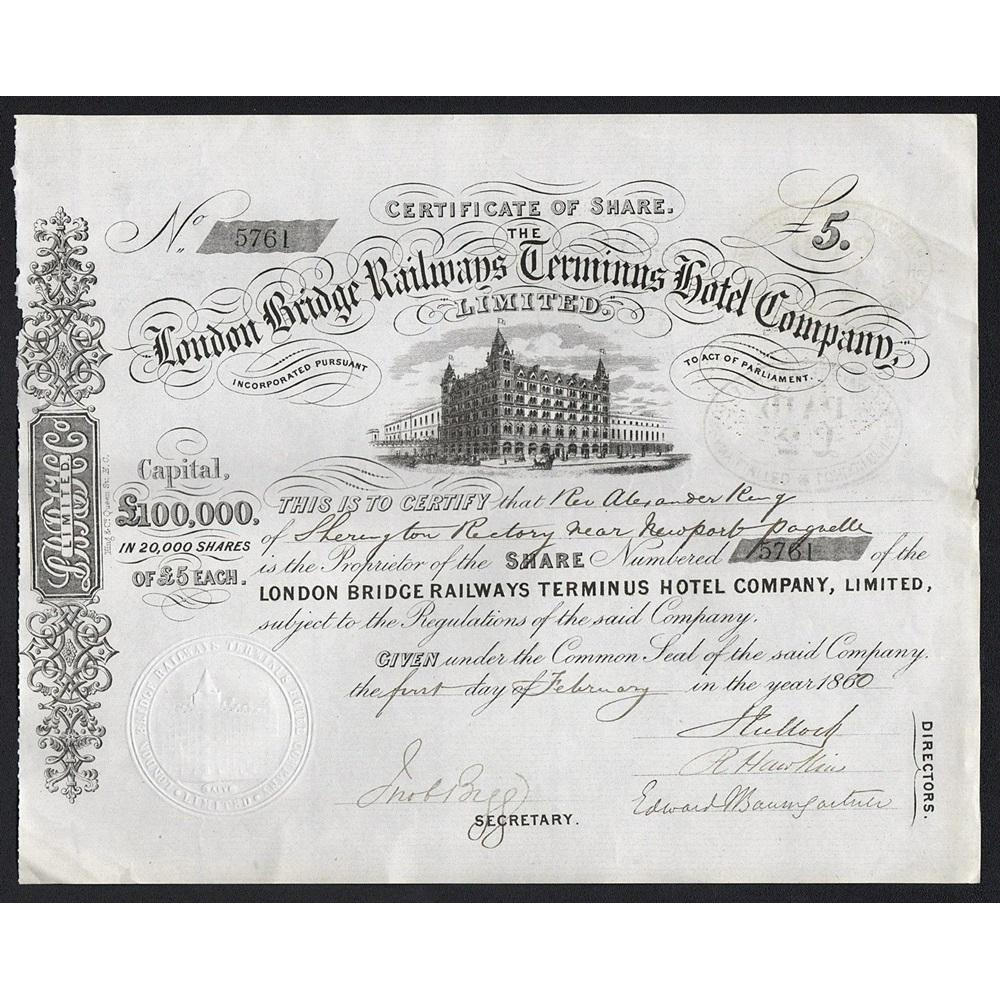 The London Bridge Railways Terminus Hotel Company, Limited Stock Certificate