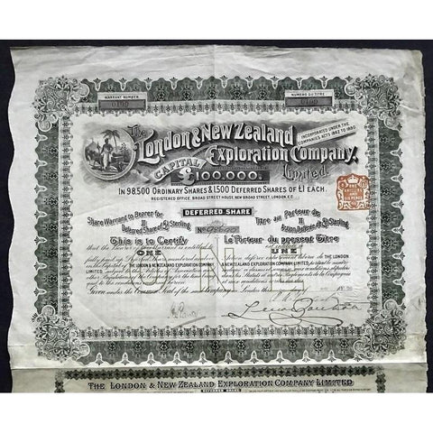 The London & New Zealand Exploration Company, Limited Stock Certificate