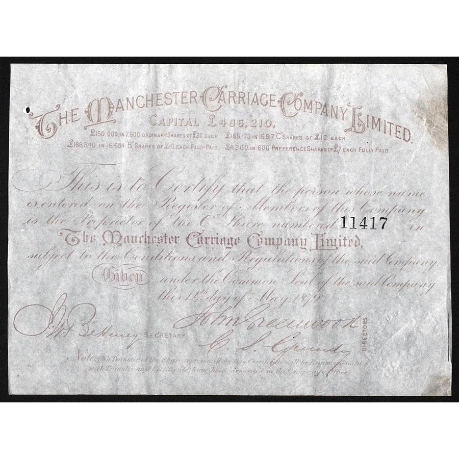 The Manchester Carriage Company Limited Stock Certificate