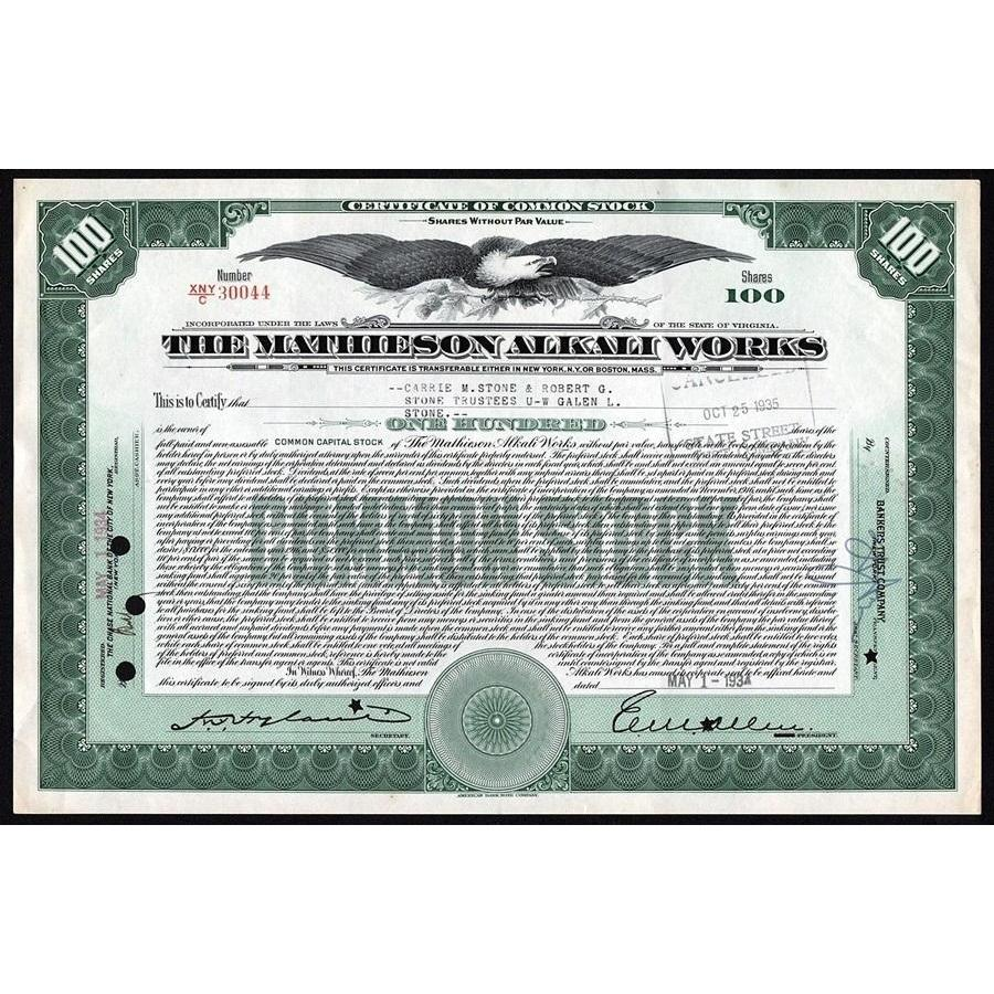 The Mathieson Alkali Works Stock Certificate