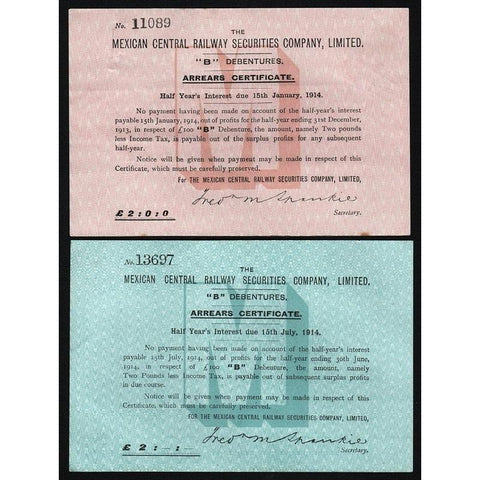 The Mexican Central Railway Securities Company, Limited Stock Certificate