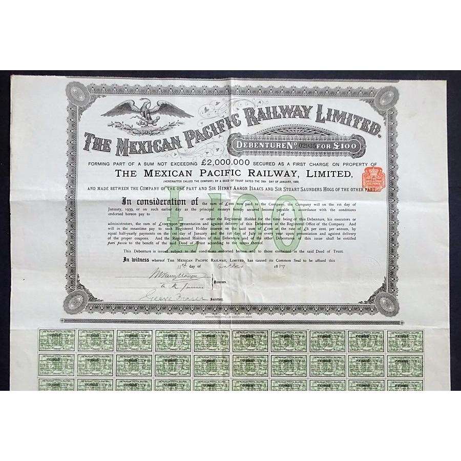 The Mexican Pacific Railway Limited Stock Certificate