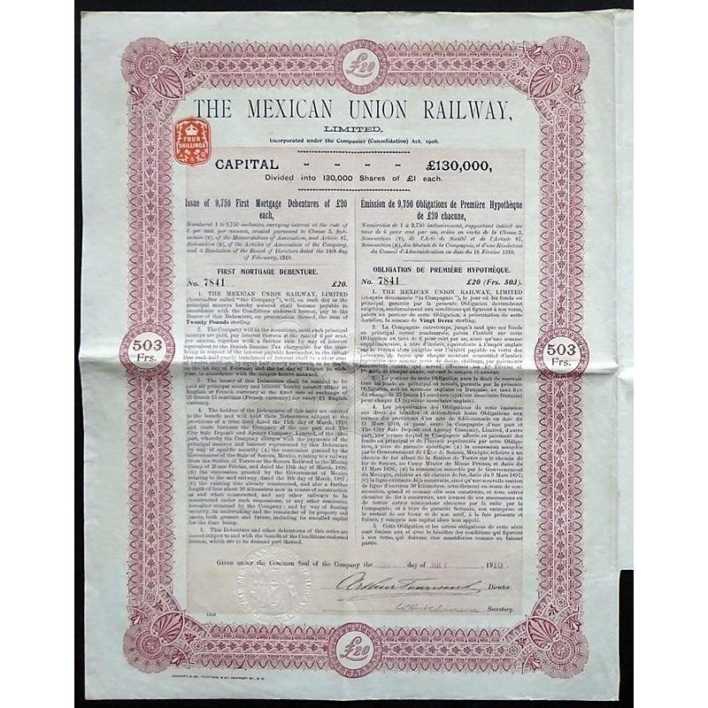 The Mexican Union Railway, Limited Stock Certificate