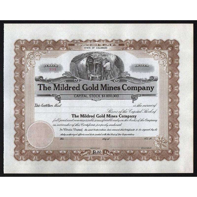 The Mildred Gold Mines Company Stock Certificate