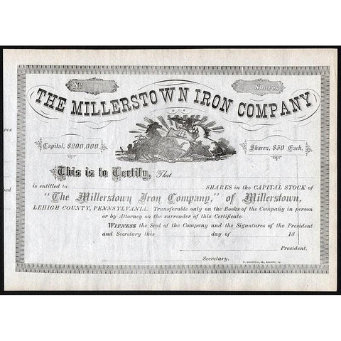 The Millerstown Iron Company Stock Certificate