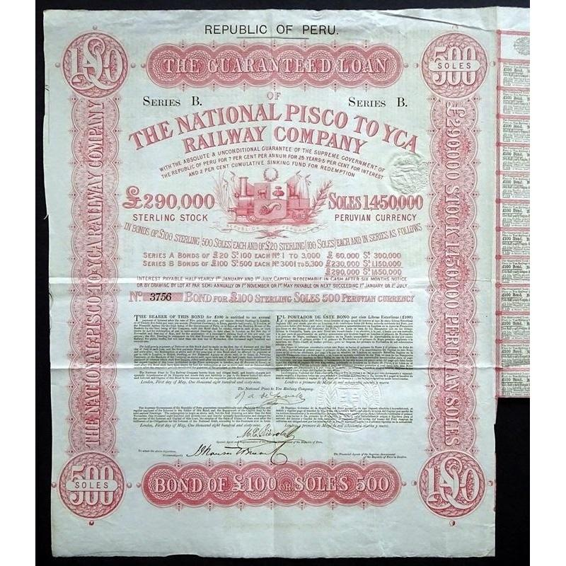 The National Pisco to Yca Railway Company Stock Certificate