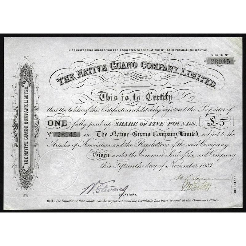 The Native Guano Company, Limited Stock Certificate
