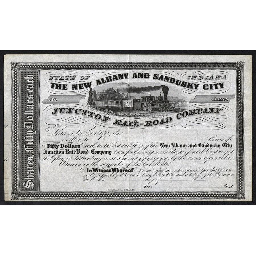 The New Albany and Sandusky City Junction Rail-Road Company Stock Certificate