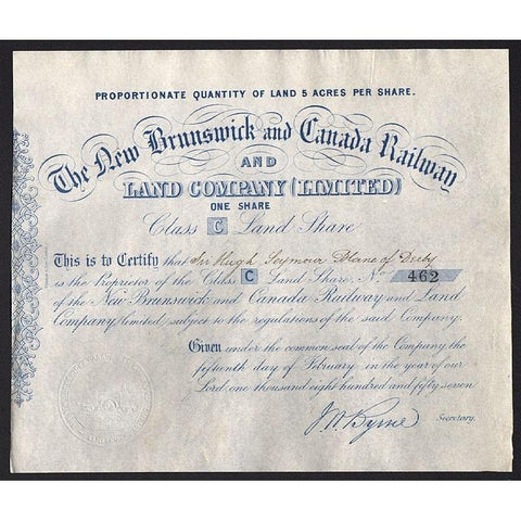 The New Brunswick and Canada Railway and Land Company (Limited) Stock Certificate