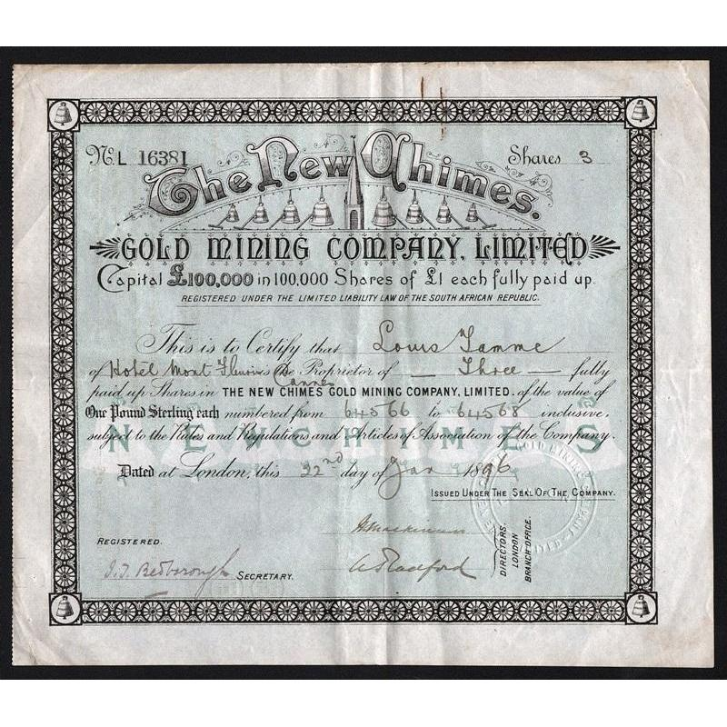 The New Chimes Gold Mining Company, Limited Stock Certificate