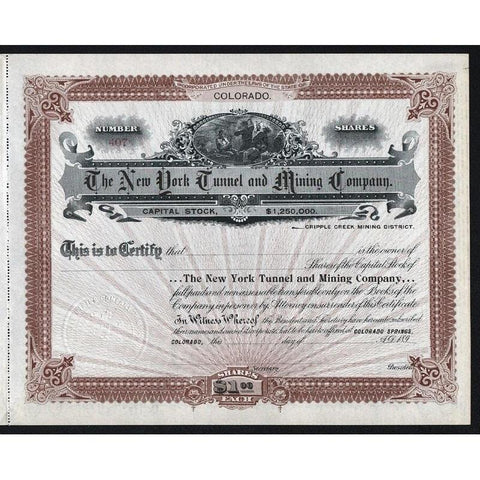 The New York Tunnel and Mining Company Stock Certificate
