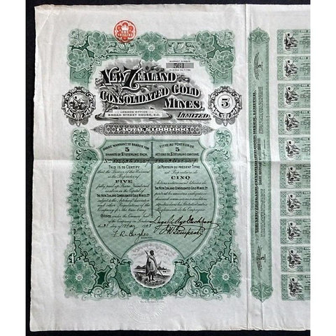 The New Zealand Consolidated Gold Mines, Limited Stock Certificate