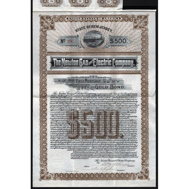 The Newton Gas and Electric Company (Gold Bond) Stock Certificate