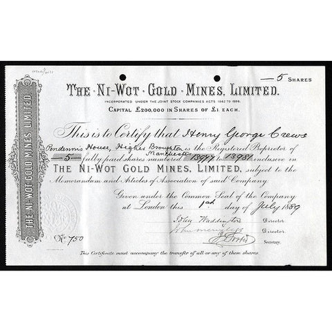 The Ni-Wot Gold Mines, Limited Stock Certificate