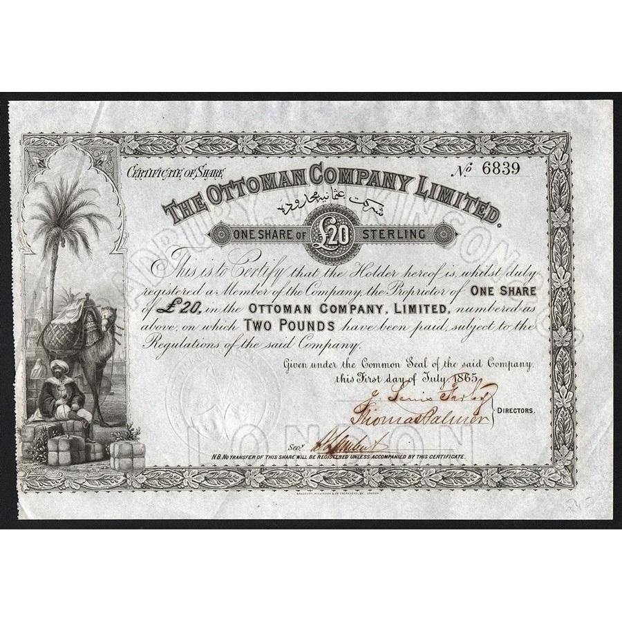 The Ottoman Company Limited Stock Certificate